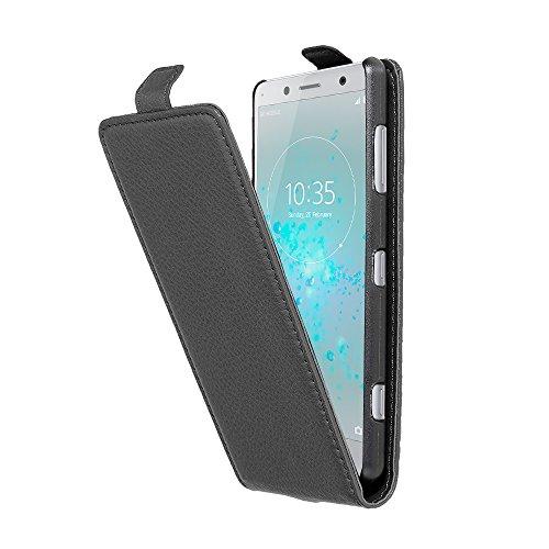 Cadorabo Coque pour Sony Xperia XZ2 Compact en Noir DE Jais - Housse Protection en Style Flip en Similicuir Structuré - Etui Poche Folio Case Cover