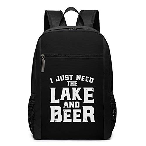 ZYWL Ich Brauche nur den See und Bier Utra-Premium 17-Zoll-Reise-Laptop-Rucksack, Büchertasche, Business-Tasche