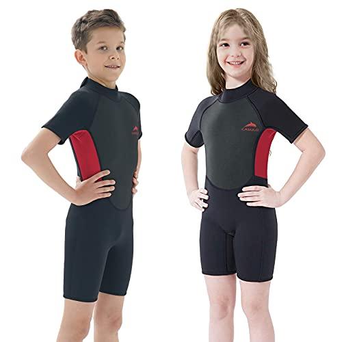 CASULO Traje de neopreno para niños y niñas, 2,5 mm, manga larga, trajes mojados
