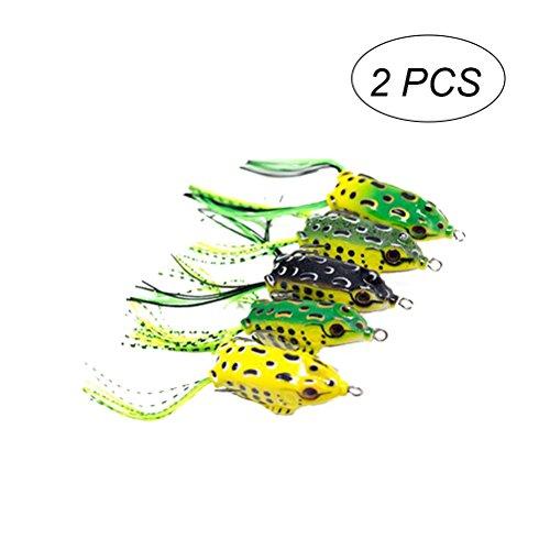 VORCOOL 2Pcs Frosch Angelköder lebensechte Topwater Lockt mit Doppelhaken zum Angeln