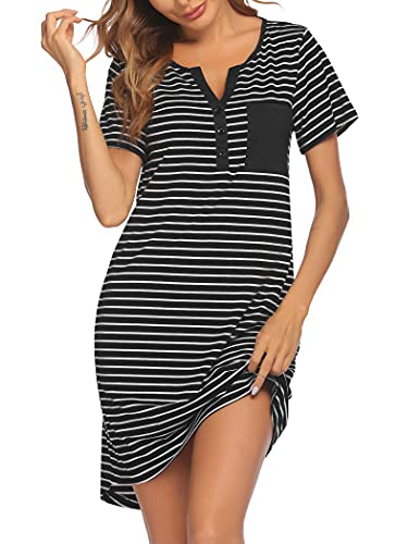 Ekouaer Camisón de manga corta con botones y cuello en V para mujer, M, Striped1 Black