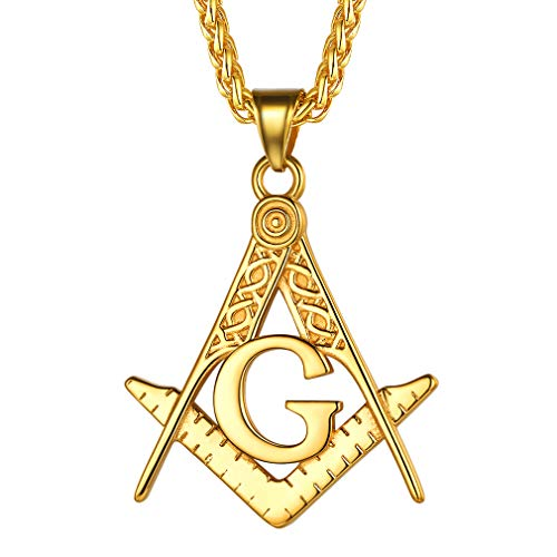FaithHeart Masonic Necklace for Men, Customize Available Freemason Compass Symbol 18K Gold Plated Free and Accepted Masons Pendant Jewelry with Gift Packaging-Gold