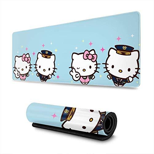 Alfombrilla de ratón Grande para Juegos Dos Alfombrillas de Escritorio extendidas de Hello-Kitty para Ordenadores Alfombrilla de ratón con Teclado Grueso Alfombrilla de ratón con Base de -Z4