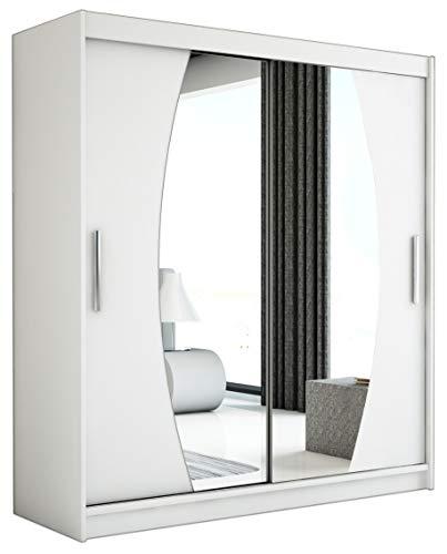 Kryspol Schwebetürenschrank Elypse 180 cm mit Spiegel Kleiderschrank mit Kleiderstange und Einlegeboden Schlafzimmer- Wohnzimmerschrank Schiebetüren Modern Design (Weiß)