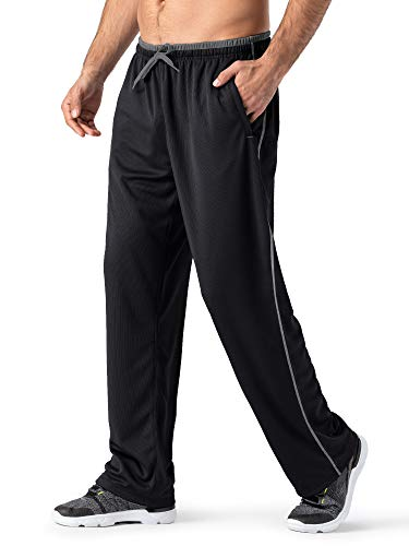 MAGNIVIT Men's Mesh Warm-Up Sweatpants Open Bottom Athletic Lightweight Track Pants Black/Grey