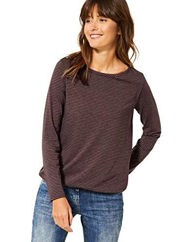 Cecil Damen 315355 Langarmshirt mit Streifen T-Shirt, red Mahogany, Medium