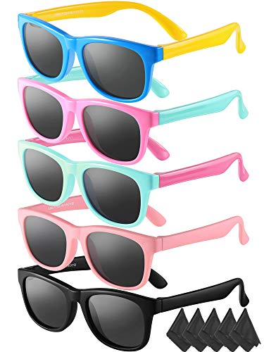 5 Pieces Kids Sunglasses TPEE Rubber Flexible Frame Sunglasses for Boys Girls of 4-12 Years Old Eyewear