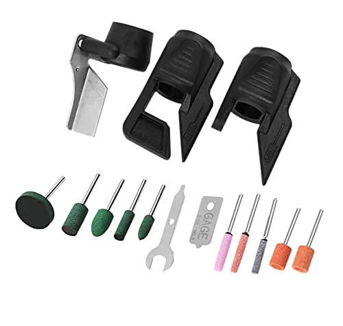 MEETOZ A679-02 Kit de afilado de herramientas de jardín, guía ayuda a restaurar las herramientas de jardín como tijeras, azadas, palas y más (15 piezas)