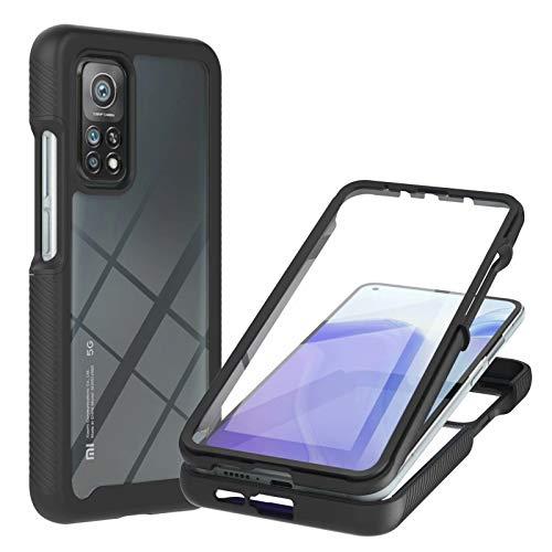 TTNAO Funda para Xiaomi Mi 10T Pro/Mi 10T,Absorción de Golpes Suave Ultrafino Anti-rasguños Prima Pet Membrana Templada Anterior CaseProtección de Todo el Cuerpo Cover,Negro