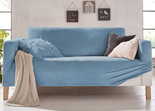 Biancheriaweb - Funda de sofá elástica, Efecto Terciopelo, Modelo Muy Suave, Color Cielo