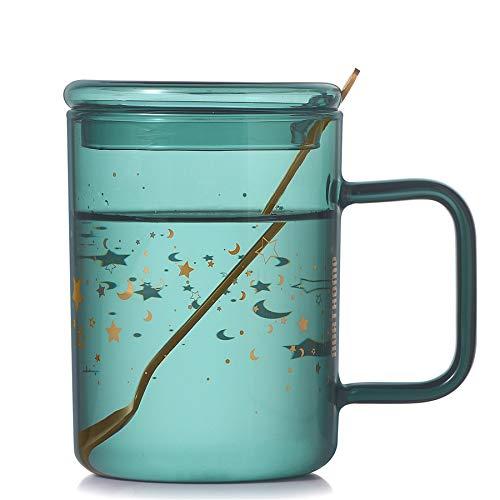 Vihimi Vaso de cristal de doble pared de 280 ml, vidrio de borosilicato resistente al calor con cuchara agitadora, taza de café impresa con tapa, taza de cielo estrellado