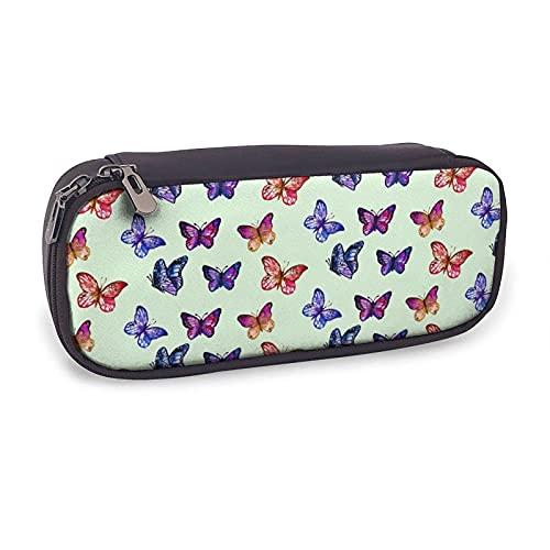 Estuche de lápiz de mariposa púrpura colorido para niñas niños adultos lindo cuero titular de la pluma bolsa