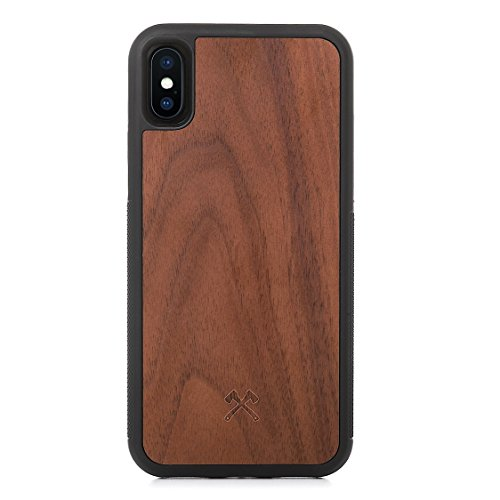 Woodcessories - Design Custodia, Cover Compatibile con iPhone X, XS di Legno Naturale - EcoBump (Noce)