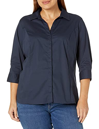 Riders by Lee Indigo Women's Easy Care ¾ Sleeve Woven Shirt, Dark Navy, XXL