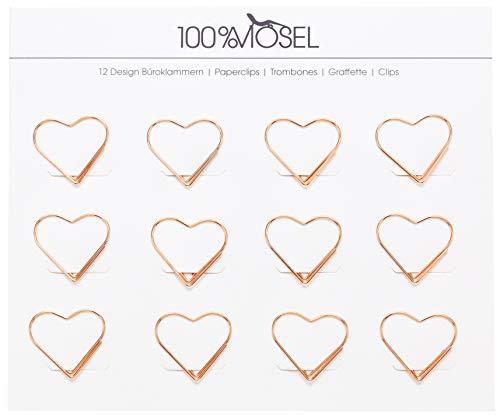 Büroklammern Roségold | 12 Stück | Metall Briefklammern | Motiv Papierklammern | Paper Clips | Als Deko, Lesezeichen oder Mitbringsel (Herz 3 x 2,7 cm)