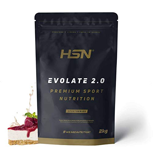 HSN Evolate 2.0 | Whey Protein Isolate | Molkenprotein Isolat + Verdauungsenzyme (Digezyme) + Muskelmasse | Vegetarisch, glutenfrei, sojafrei, Geschmack: Käsekuchen und Waldbeeren, 2Kg