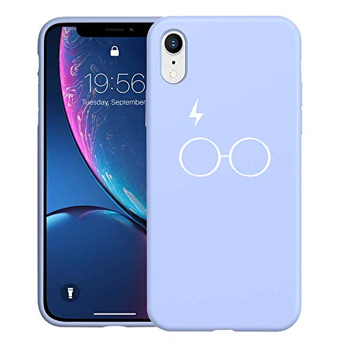 Unov Case with Hallows Design Slim Protective Soft Liquid Silicone Bumper [Support Wireless Charging] Cover for iPhone XR 6.1 Inch (Blue with Hallows)