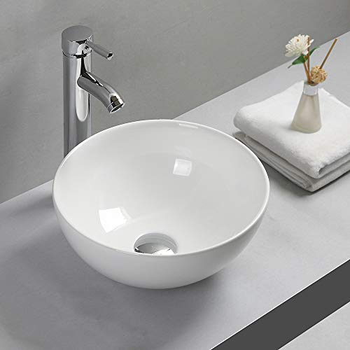 Gimify Lavabo da Appoggio Design Moderno Bacinella Lavandino Lavello in Ceramica Bianco Sanitari Bagno