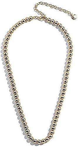WYDSFWL Collar Punk Hip Hop Big Beads Gargantilla Collar Boho Color Dorado Collar de eslabones Gruesos cubanos para Mujeres Collar Joyas para Mujeres Hombres Collar de Regalo