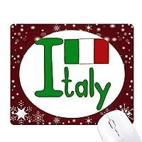 イタリア国旗の緑のパターン オフィス用雪ゴムマウスパッド