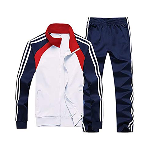 Hanwe Men's Tracksuit Set Running Joggers Outfit Sports Sweatsuit Casual Jogging Suits White L
