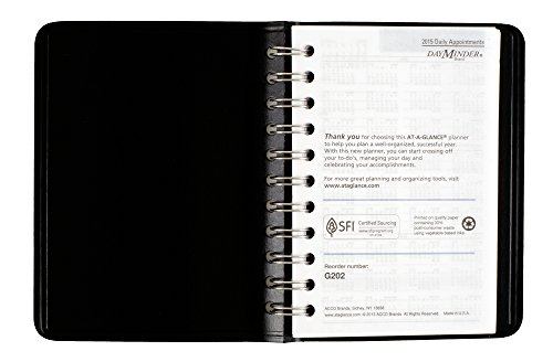 DayMinder Daily Appointment Book 2015, Wirebound, 4 x 6 Inches Page Size, Black (G202-00) Photo #2
