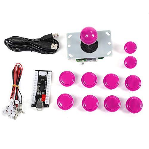 Annadue 30/24 Kassettentaste Schwarz USB Core Board 3D-Kassettenwippe Kleinerer Operationsbereich Arcade Kit(Pink)