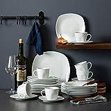 MALACASA, Serie Elisa, Porzellan Tafelservice 30 TLG. Geschirrset mit je 6 Kaffeetassen, 6 Untertassen, 6 Dessertteller, 6 Suppenteller, 6 Essteller - 2