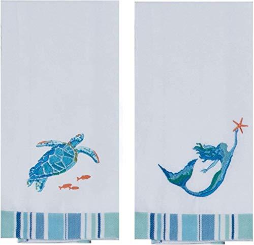 Kay Dee Designs Sea Splash Sea Turtle and Mermaid Embroidered Kitchen Tea Towels (1 of Each)