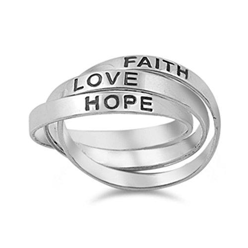 Ring aus Sterlingsilber - Glaube Hoffnung Liebe