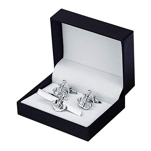 ZCX Silber Klassische Dübel Metall Krawattenklammer Französisch Manschettenknöpfe Set 2 Krawattennadeln