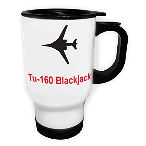 tu-160_blackjack Fire Jet PLANE Pilot Jet Vintage Tasse de voyage thermique blanche 14oz 400ml c651tw
