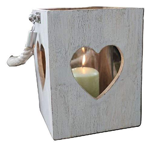keine Angabe Holzlaterne mit Seilgriff H 23,5cm Deko Laterne Kerzenhalter Kerzenständer Lampe, Variante:Herz weiß