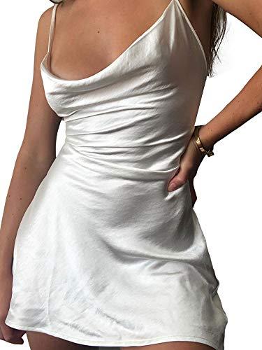 Vialogry Damen-Kleid, sexy, einfarbig, rückenfrei, Y2K, figurbetont, Party, Club, Tank-Kleid, modisch, ärmellos, Kleider für Damen Gr. 40, weiß