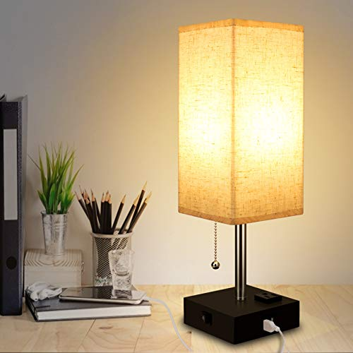 USB Table Lamp with Fabric Shade and 2 Charging Ports for Recharging Devices, Ambient Light Bedside Nightstand for Home, Office, Bedroom, Living Room