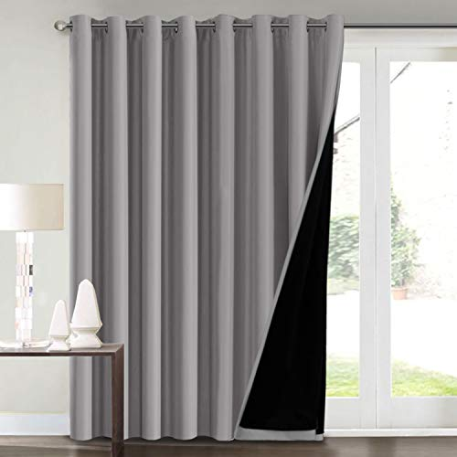 "100% Blackout Curtains for Living Room Extra Wide Blackout Curtains for Patio Doors Double Layer Lined Drapes for Double Window Thermal Insulated Curtains/Draperis - Grey, 100"" x 96"""
