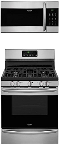 """Frigidaire 2-Piece Stainless Steel Kitchen Package with FGGF3059TF 30"""" Freestanding Gas Ranges and FGMV176NTF 30"""" Over-the-Range Microwave"""