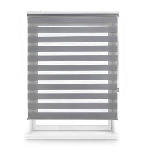 Blindecor LIRA - Estor enrollable de doble capa Noche y Día, Gris Plata, 100 x 180 cm, ancho x largo