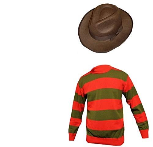 Disfraz unisex de Freddy Krueger para Halloween, guantes, sombrero, jersey, edades 7/89/1011/12