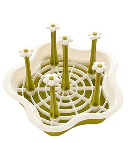 Caolator - Portavasos portavasos, soporte para vasos, soporte para copas, escurridor, organizador de vasos, plato de frutas en forma de flor, plástico multifuncional desmontable