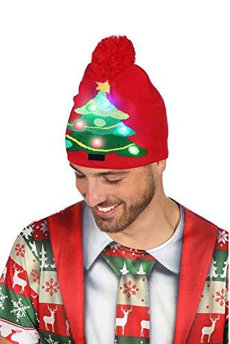 shoperama Bommel-Mütze mit leuchtendem Weihnachtsbaum Christbaum blinkend Weihnachten Weihnachtsmütze Strick-Mütze Weihnachtsmarkt