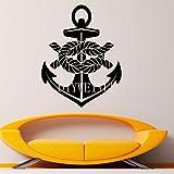 AGjDF Pegatinas de Pared de Ancla náutica Pegatinas de Vinilo extraíbles Arte Marino Marino DIY Mural Accesorios de decoración de Interiores modernos54x42cm