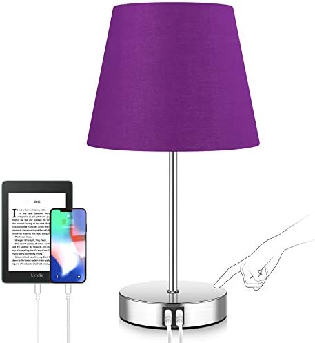 Touch Control Nightstand Lamps 3 Way Dimmable Modern Bedside Lamp 5000K Fast 2 USB Ports AC product image