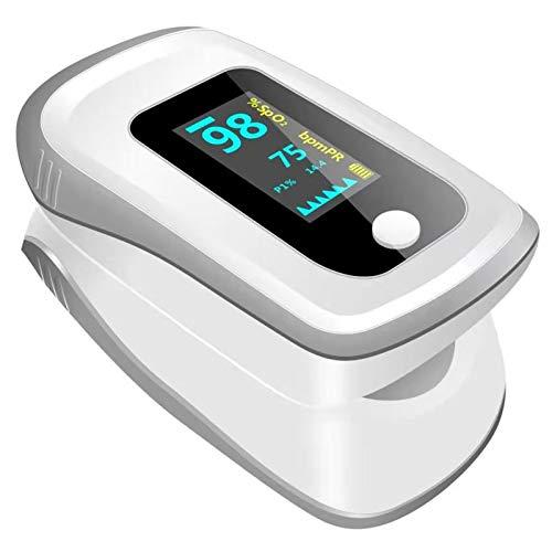 Jiujiuwanli Pulsmesser zur Messung der Sauerstoffsättigung und Impulsion, Finger-Clip Oxí_Metro mit HD-LED Anzeige für Erwachsene und Kinder (grau)
