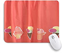 EILANNAマウスパッド アイスクリームブリックレッドおいしいおいしいデザート ゲーミング オフィス最適 高級感 おしゃれ 防水 耐久性が良い 滑り止めゴム底 ゲーミングなど適用 用ノートブックコンピュータマウスマット
