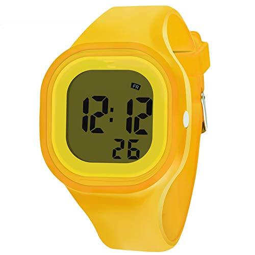 Hombres Mujeres Niños Reloj Digital Resistente al Agua Reloj del Deporte con Brillan en la Oscuridad de Silicona Reloj de la Correa (Color : Yellow)