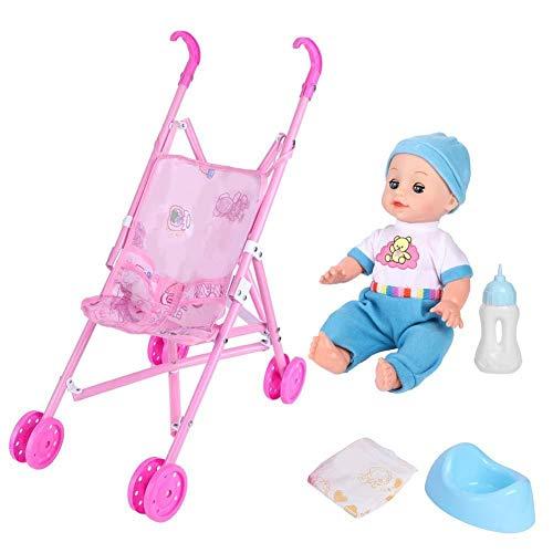 Baby Doll Stroller, High Simulation Children Trolley Toy Educational Play House Toy con Efecto de Sonido para niños(Niños)