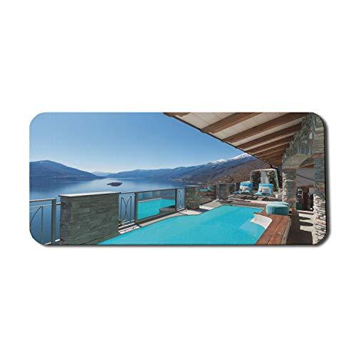 Sommer Computer Mouse Pad, Terrasse mit Pool und Seeblick vom Haus Balkon Freizeit Traum Urlaubsziel, Rechteck rutschfeste Gummi Mousepad X-Large Gaming Größe, Aqua