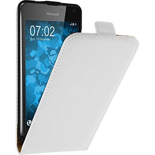 PhoneNatic Kunst-Lederhülle kompatibel mit Microsoft Lumia 650 - Flip-Hülle weiß + 2 Schutzfolien