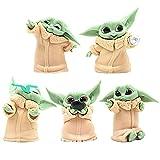 BKJJ Mini Figurine Baby Yoda Cake Topper Baby Yoda Action Figure per Bambini Decorazione della Torta Forniture per Festa di Compleanno Figure Doll di Modelli 5 Pezzi